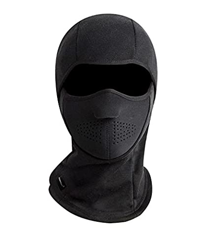 Zerdocean Winter Windproof Fleece Full Face Motorcycle Ski Mask Balaclava Black - Winter Balaclava