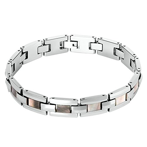 Beydodo Chain Bracelet for Men 9 inch Silver Polished Watchband Tungsten Bangle Bracelets Mens by Beydodo