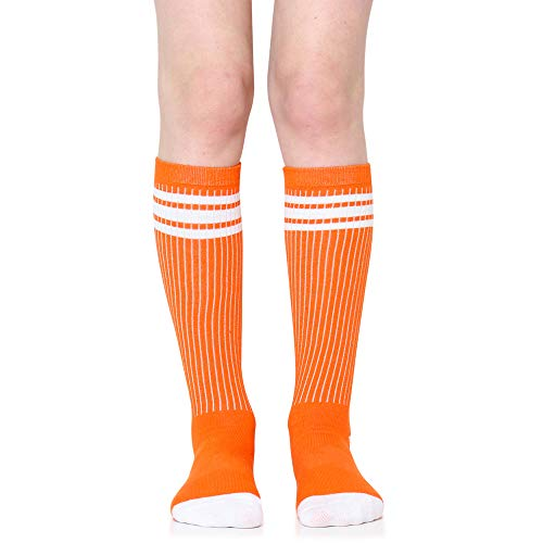 Baby, Toddler & Kids Knee High Tube Socks For Boys & Girls With Grips (1 Pair) (6-10 Years (Size 1-4), Orange/White) ()