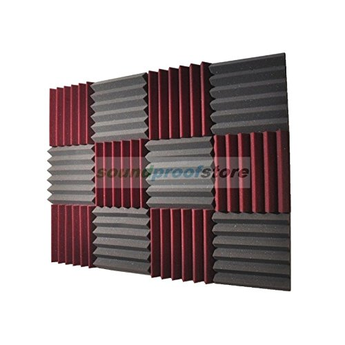 2 Acoustic Wedge Soundproofing Studio Foam Tiles, 2 X 12 X 12-Inch, Pack of 12 (Charcoal Black and Burgundy Maroon) ()