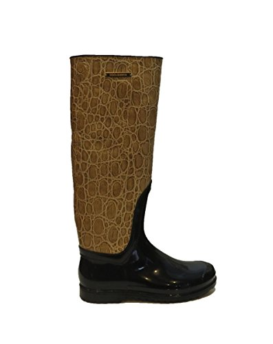 Dolce & Gabbana Italy Woman's Beige Crocodile Leather Rubber Rainboots Boots 9 8 by Dolce & Gabbana