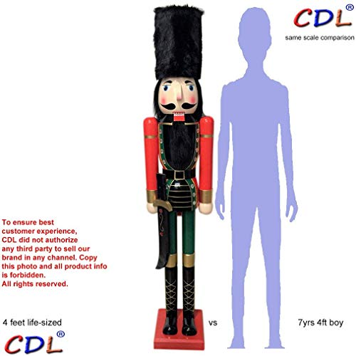 """CDL 48"""" 4ft Tall Life-Size Large/Giant Christmas Wooden Nutcracker Soldier Ornament on Stand Holds Scimitar for Indoor Outdoor Xmas/Event/Ceremonies/Commercial Decoration(4 feet, Soldier red k06)"""