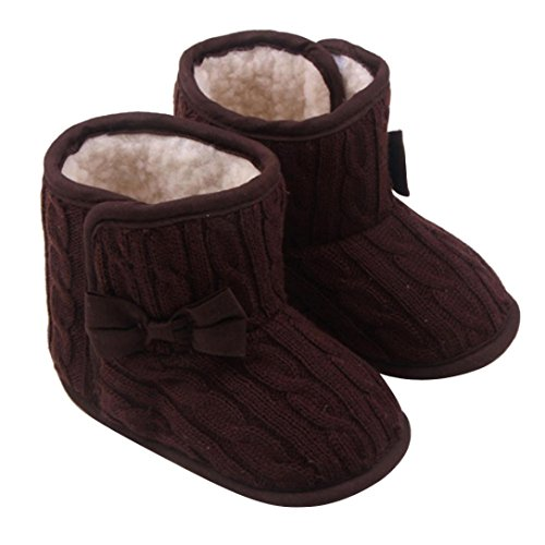 FEITONG Baby Girl Boy Snow Boots Bowknot Soft Sole Winter Warm Shoes Boots (3-6 Months, Coffee) (Dallas Cowboys Winter Boots)