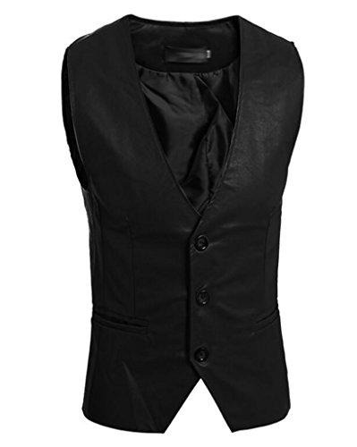 SoEnvy Men's Sleeveless Slim PU Leather Waistcoat Vest Jacket M Black