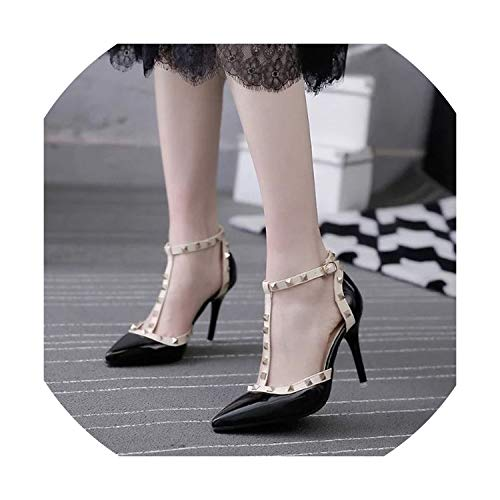 New Women Sandals Sexy Pointed Toe High Heels Shoes Ladies Fashion Rivet Stiletto Summer Heels Shoes Size 34-41,Black,9.5