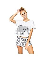 Germinate Sets Elephant T Shirts Women Graphic Funny Tumblr Cute Crop Tops Sleepwear Pajamas