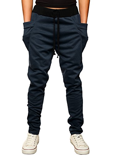 HEMOON Mens Jogging Pants Tracksuit Bottoms Training Running Trousers Navy XL