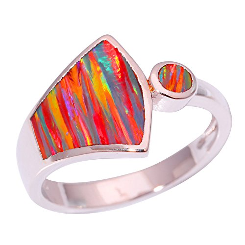 CiNily Silver Orange Fire Opal Women Jewelry Gemstone Ring Size 6-10 - Orange Silver