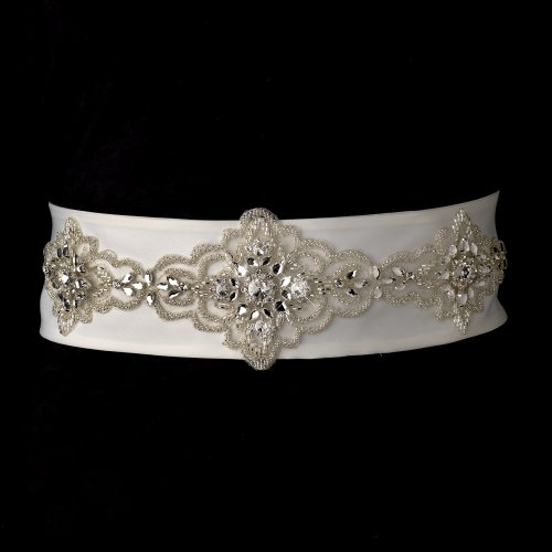 Stunning Rhinestone Beaded Wedding Bridal Sash Belt - White by Fairytale Bridal Accessories