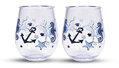 Vera Bradley 16 Ounce Acrylic Stemless Wine Glass Set of 2, Dishwasher Safe, Sea Life