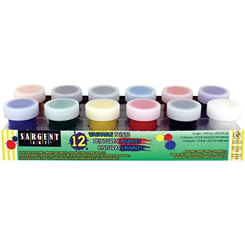 Sargent Art Jar Washable Primary & Secondary Paint Set 3/4 Ounce, 12 Bright Colors, 3/4 oz