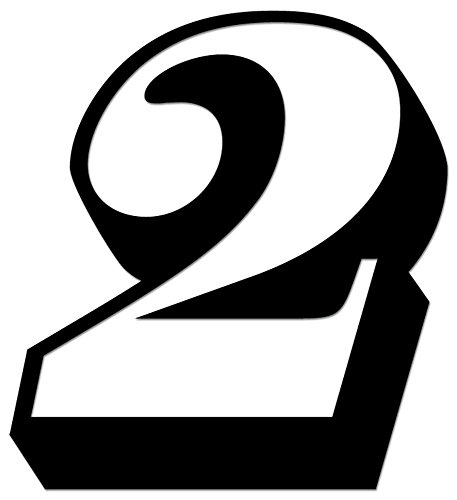 Racing Number 2 Nascar Indy Go Kart Style12 Vinyl Decal Sticker For Vehicle Car Truck Window Bumper Wall Decor - [4 inch/10 cm Tall] - Gloss WHITE ()