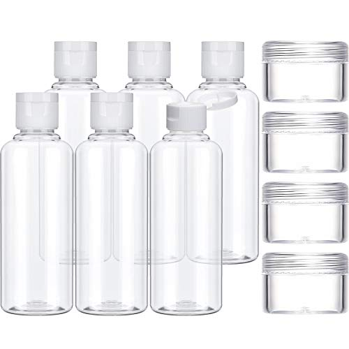 Chinco Travel Bottles Set, 6 Pack 100 ml Transparent Plastic Air Flight Travel Bottle and 4 Pack 10 ml Cosmetic Containers for Shampoo, Conditioner and Lotion (100 ml)