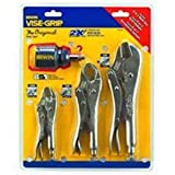 Irwin 2077703 Vise Grip 3 Piece 10-Inch Straight, 7-Inch Curved, and 5-Inch Curved with Wire Cutter Plier Set with Free 8 in 1 multi-tool thumbnail