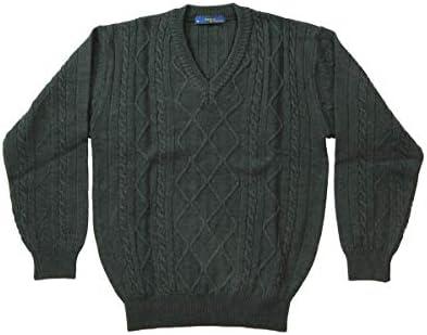【Aspetiva】日本製 ウール100% 7ゲージ アラン柄 Vネックセーター (3074)
