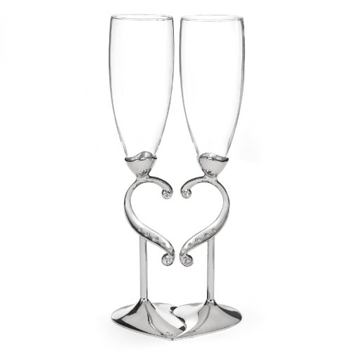 Hortense B. Hewitt Champagne Toasting Flutes Wedding Accessories, Linked Love, Set of ()