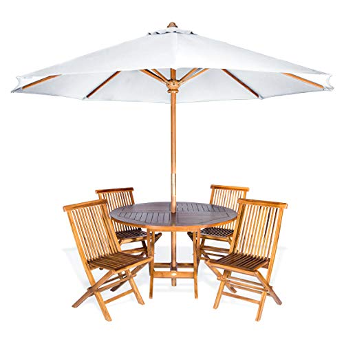 All Things Cedar TT6P-R-W Teak Round Patio Table & Folding Chair Set with White Teak Market Table Umbrella, 6-Piece ()