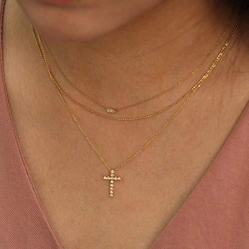 Diamond Necklace Diamond Cross Necklace 14K Solid Gold Diamond Necklace Minimalist Necklace