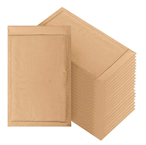 Natural Kraft Bubble mailers 7.25 x 11 Brown Padded envelopes 7 1/4 x 11 by Amiff. Pack of 20 Kraft Paper Cushion envelopes. Exterior Size 8 x 12 (8x12). Peel - Envelopes Recycled Mailing