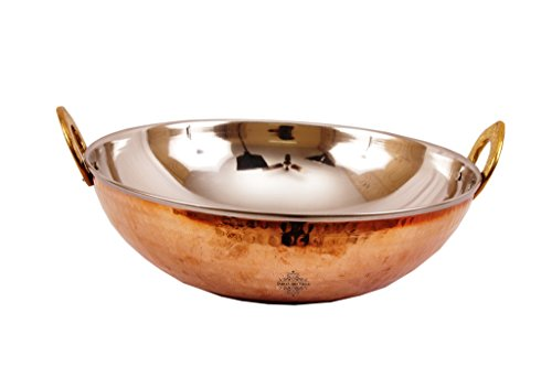 IndianArtVilla Handmade Steel Kadai, Indian Wok with Copper Bottom | 61 OZ Style with Taste | Perfect Serveware (Wok Copper)