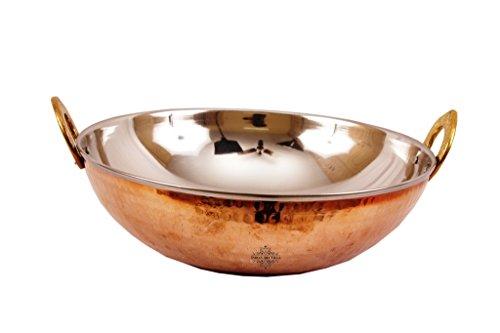 IndianArtVilla Handmade Steel Kadai, Indian Wok with Copper