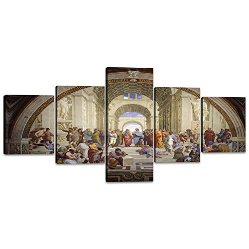 5 Pieces Canvas Wall Art Decor for Living Room The School of Athens by Raphael Painting Renaissance Prints Posters Artwork Wrapped Gallery Stretched and Framed Ready to Hang (50''Wx24''H)