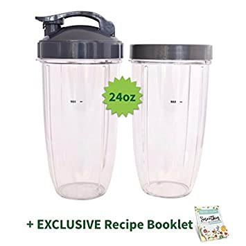 Amazon two cups for nutribullet 24 oz tall with flip top lip two cups for nutribullet 24 oz tall with flip top lip ring exclusive fandeluxe Images
