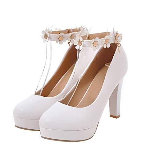 AgooLar Fibbia Luccichio Puro Ballet GMMDB007085 Alto Bianco Flats Tacco Donna rg7wHr