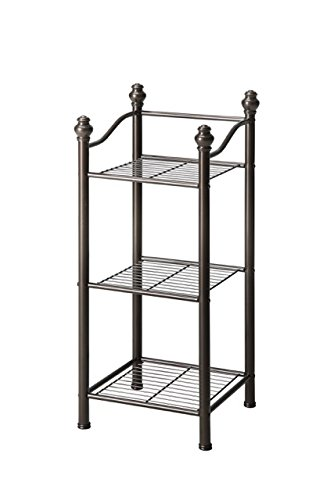3 Tier Storage Tower - Organize It All 3 Tier Free Standing Sturdy Bathroom Storage Tower - Oil Rubbed Bronze Finish