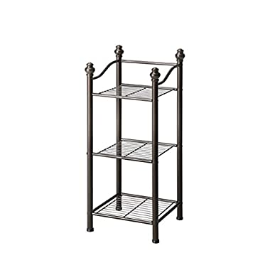 Organize It All 3 Tier Free Standing Sturdy Bathroom Storage Tower - Oil Rubbed Bronze Finish