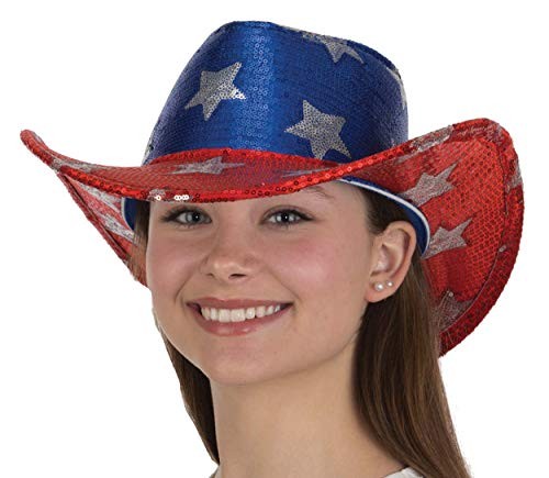 USA American Flag Cowboy Hat Sequin Red White Blue Patriotic 4th of July Costume -
