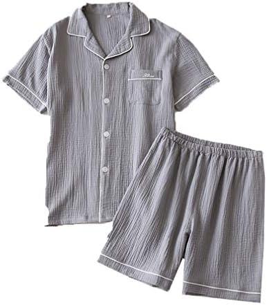 カップルパジャマ夏半袖ショーツ綿クレープホームサービスウォッシュガーゼ大きいサイズスーツ無地シンプルハーフパンツ