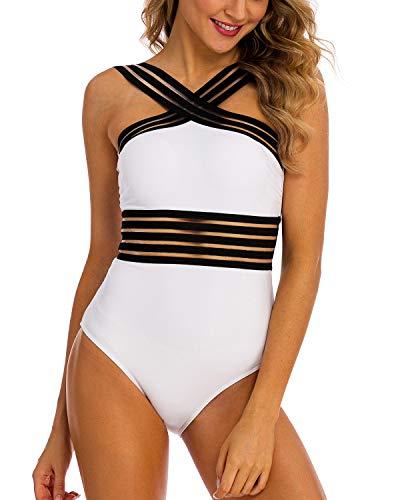 2fd186e287b Coskaka Women's One Piece Swimwear Yellow White Swimsuits Hollow Bathing  Suits Monokini Modest Swimwear for Teens