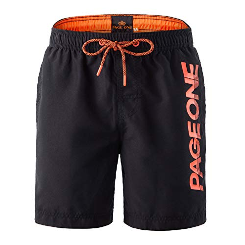 - PAGE ONE Mens Beach Shorts Quick Dry Surfing Swim Trunks with Full Mesh Lining with Pockets(25