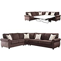 ACME Randolph Chocolate Chenille Sectional Sofa with Sleeper