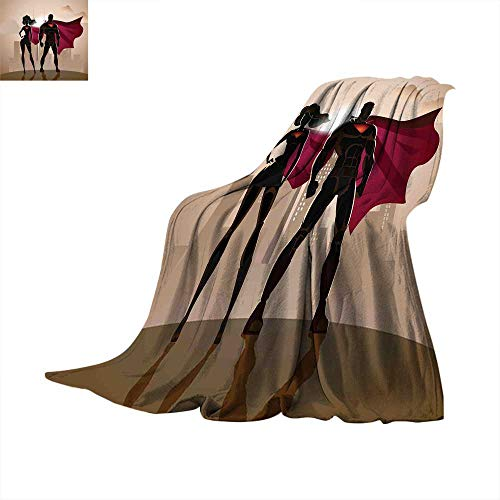 (Superhero Thermal Blanket Super Woman and Man Heroes in City Solving Crime Hot Couple in Costume Throw Blanket for Bed Beige Brown Magenta.)