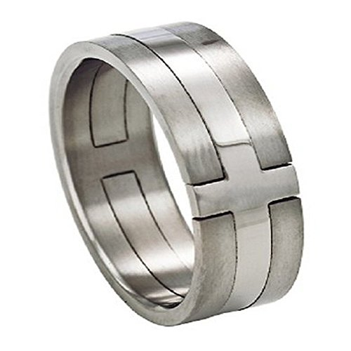 Men's Titanium 8mm Cross Ring with High Polish and Satin Finish Size 15 (Satin Finish Polish High)