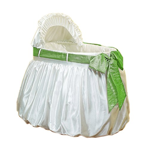 Baby Doll Bedding Shantung Bubble and Crushed Belt Bassinet Set, Sage by BabyDoll Bedding