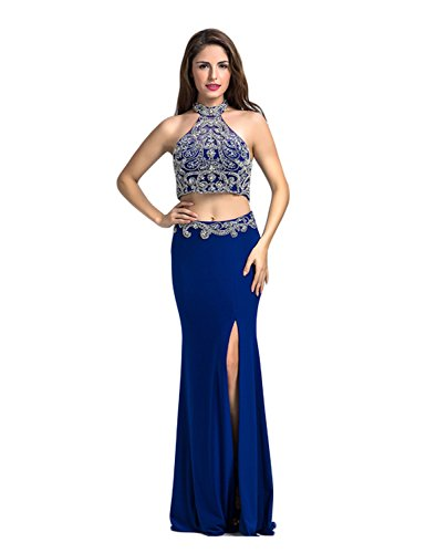 LucysProm Women's Prom Dresses Two Pieces Beaded Spandex Evening Dresses Size 4 US Dark Royal (Halter Brush Train)