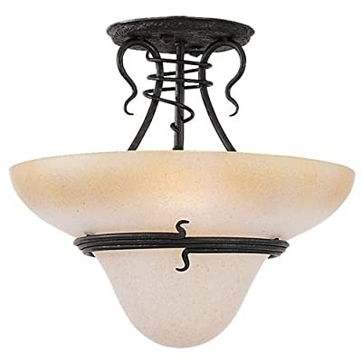 Sea Gull Lighting 7713-185 3-Light Saranac Lake Close-to-Ceiling Fixture, Ember Glow Glass and Forged Iron