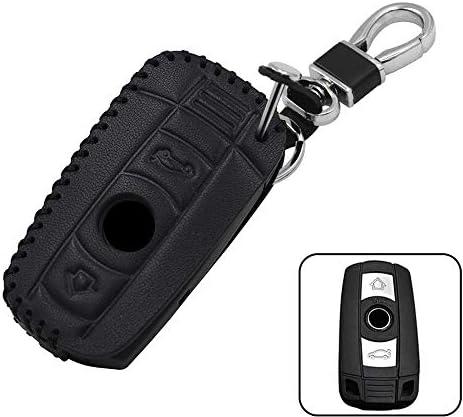 [해외]shunyang Car Leather 3 Buttons Remote Key Case Cover for BMW 3 5 6 Series M3 M5 X1 X5 X6 Z4 1 Series E88 Car Remote Key BagKey Rings Kit Keychain Holder Metal Hook (Black) / shunyang Car Leather 3 Buttons Remote Key Case Cover for ...