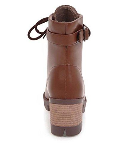 Botas Mujer Brown Moda Linyi Bombas Martin Cuero Tacón Hebilla Alto Ocio Cinturón qOZnw1