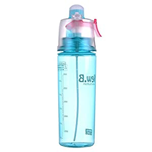 Mojing Plastic Spray Water Bottle 600ml - Sport Drinking Cup with Mist Hydration