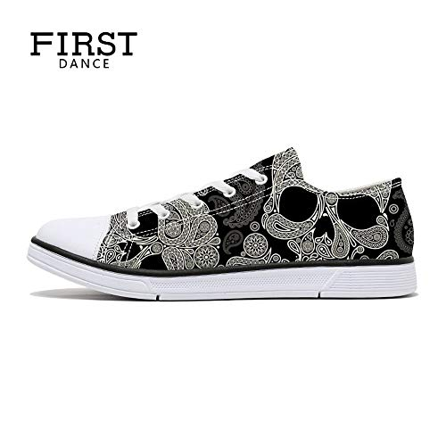 FIRST DANCE Women Men Skull Printed Shoes Cool Paisley Print Fashion Sneakers for Teen Boys Girls Student Canvas Shoes for Ladies 7.5US W]()