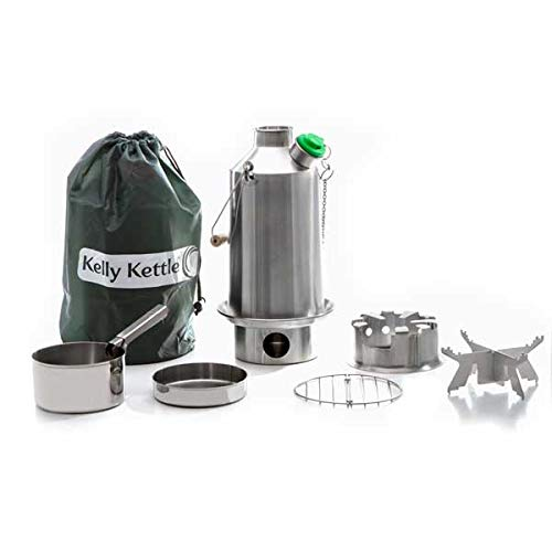 Base Camp 54 oz. Anodized Aluminum Kelly Kettle Basic Kit 1.6 ltr Rocket Stove Boils water Ultra Fast with just sticks twigs. For Camping, Fishing, Scouts, Hunting, Emergencies, Hurricanes, Tornados