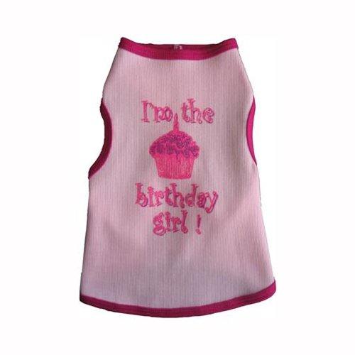 Girl Dog Birthday Tank (I See Spot's Dog Pet Cotton T-Shirt Tank, Birthday Girl, Small, Pink)