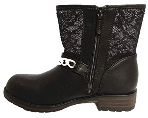 Botte Zip SM209 fashionfolie Talon Dentelle Noir Femme Strass Bottine Motard Boots YUqwU8v