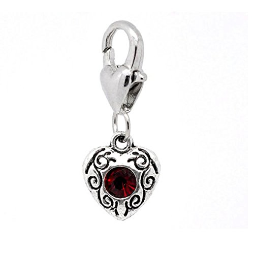 January Birthstone Heart Charm (Clip-on Birthstone Rhinestone Heart Charms)