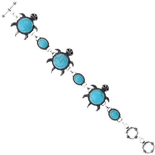 DVANIS Retro Tibetan Silver Carved Oval Turquoise Tortoise Bangle Bracelet Women by DVANIS