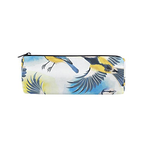 - Round Pencil Case Bag Watercolor Flying Birds Multi Function School Supplies Organizer Pouch Bag with Zipper Closure